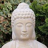 Buddha mit Teelicht Deko Figur 40cm groß betende Thai Skulptur Teelichthalter Buddhafigur sitzend Buddah Statue mit Windlicht - 3