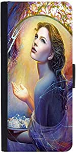Snoogg Angels In Heaven Graphic Snap On Hard Back Leather + Pc Flip Cover Sam...