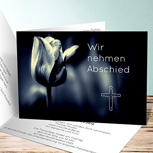 Einladungskarten Beerdigung, Tulpensolo 200 Karten, Horizontale Klappkarte 148x105 inkl. weiße Umschläge, Grau