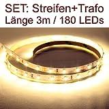 SET LED Strip Streifen WARMWEISS 3 Meter inkl. Netzteil PCB weis