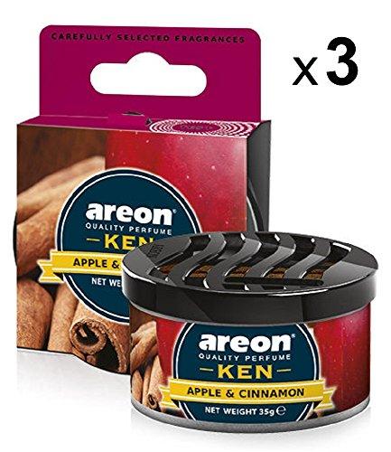 AREON Ken Désodorisant Voiture Pomme Cannelle en Pot Maison Couvercle Ventilé Réglable 3D (Apple and Cinnamon Lot de 3)