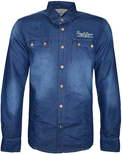 SoulStar Herren Freizeit-Hemd Blau - Denimblau