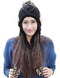 Smarstar Hiver femmes dame 100% tricoté à la main cache-oreilles en fausse fourrure Beanie Chapeau-Bonnet 3 pompons-Noir
