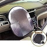 Big Ant Coperchio del volante Parasole + finestra laterale Bonus Parasole, Parasole per auto - Riflettore di calore adatto Maggior parte di Jumbo / Auto standard - Tramutante