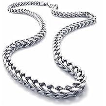 """AnaZoz Joyería de Moda Collar de Hombre Acero Inoxidable Plata Collar Para Hombres Link Personalidad Moda Simple Longitud 22"""" Personalidad Moda Simple"""