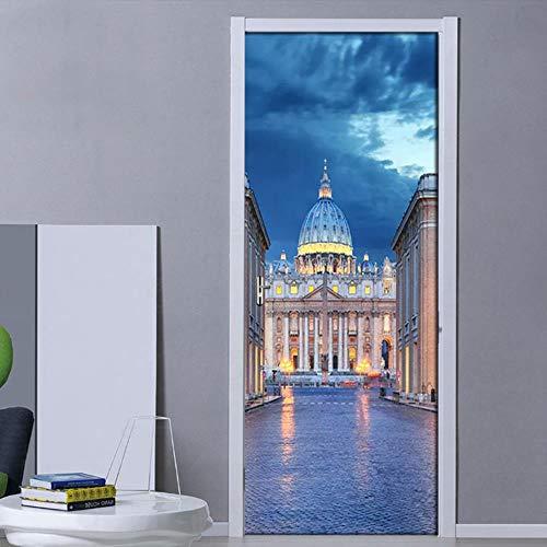 FCFLXJ3d tür aufkleber schöne römische architektur burg foto papier pvc selbstklebende tapete wohnzimmer schlafzimmer dekoration tür mural er 77x200 cm -