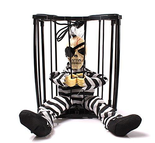 Halloween Dekorationen Sensor Bewegung Hanging Caged Animierte Gefängnis Gefangene Skeleton Terror Blinkende Leuchte Stange (Beängstigend Bilder Halloween Animierte)