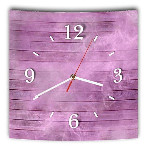 LAUTLOSE Designer Wanduhr mit Spruch Holz Bretter Optik lila violett grau weiß modern Dekoschild...