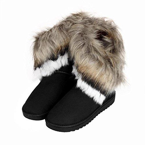Bottes Fourrées Femme Hiver SHOBDW Bottines Slip-On Doux Bottes de Neige Bout Rond Chaud Coton Noir Bleu Marron Chaussures