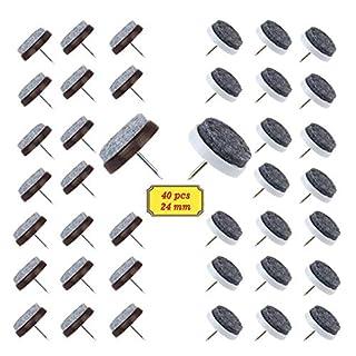 BAKTOONS 40 Stück Filzgleiter nagel(Ø 24 mm) Parkettgleiter, Möbelgleiter, Stuhlgleiter mit Kratzschutz, Geeignet für Parkett und Alle Anderen Böden (Weiß + Braun)