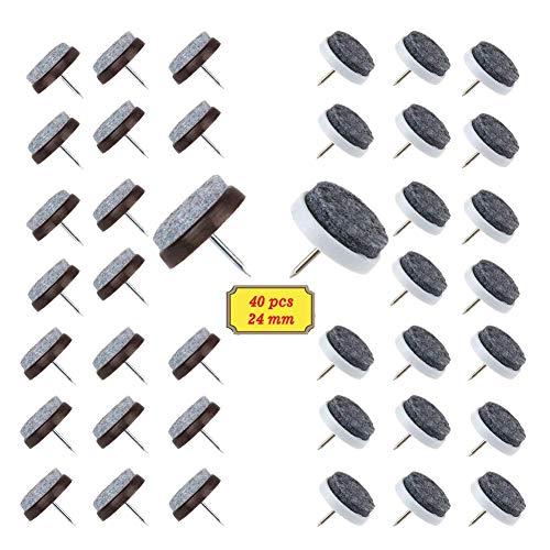 Braun Boden (BAKTOONS 40 Stück Filzgleiter nagel(Ø 24 mm) Parkettgleiter, Möbelgleiter, Stuhlgleiter mit Kratzschutz, Geeignet für Parkett und Alle Anderen Böden (Weiß + Braun))
