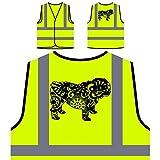 Englisch Bulldogge Bunten Boho Stil Personalisierte High Visibility Gelbe Sicherheitsjacke Weste s837v