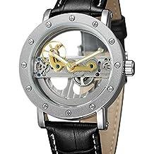 Forsining 2017lujo diseño transparente funda para hombre relojes primera marca lujo Automático Esqueleto relojes de pulsera.