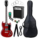 McGrey Rockit guitare électrique double encoche set complet Cherry Red