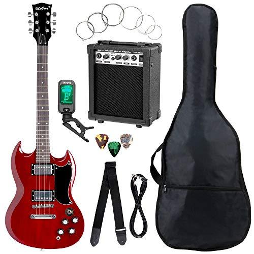 McGrey Rockit Double Cut Komplettset E-Gitarre (8-teiliges Anfängerset mit Gitarre, Verstärker, Ersatzsaiten, Gitarrentasche, Stimmgerät, Plektren, Gurt und Gitarrenkabel) Cherry Red (Cherry Gurt)