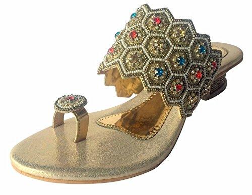 Étape N Style Indien Chaussures Sexy or diamant Talon Sandales Parti juttis mojari Multicolore