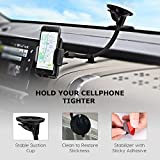 Windscreen Phone Holder, Mpow Long Arm Car Phone Mount iPhone Car Holder with Dashboard Base and Dual Suction Windshield Car Mount for iPhone 7 6 Samsung S7 S8 Note 5 LG HTC and other Smartphone, Gray