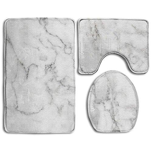RedBeans Natur weiß Marmor Textur für Hintergrund Oder Haut Tile Wand Luxuriöser Bild Hoch Auflösung Badezimmer Teppich 3-Teiliges Badematten-Set Contour Teppich und Deckel - Natur-badezimmer-teppich