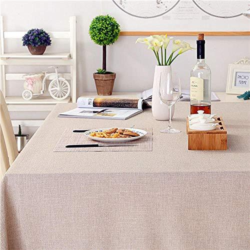 Wasserdichte und wärmeisolierende einfarbige rechteckige Tischdecke aus Baumwolle und Leinen - rot grau_140 * 200Cm -