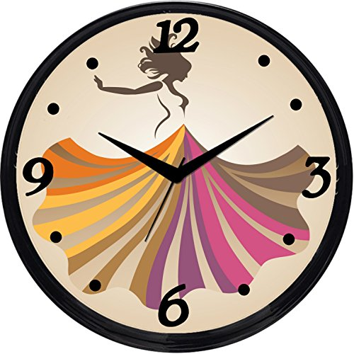Cartoonpur Round Large Designer Decorative Girl in Skirt Wall Clock - Ticking 11-Inch Wall Clock for Home / Bedroom / Living Room / Kitchen