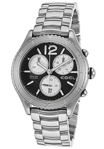 Ebel Men's X-1 43mm Chronograph Steel Bracelet & Case S. Sapphire Swiss Quartz Black Dial Watch 1216120