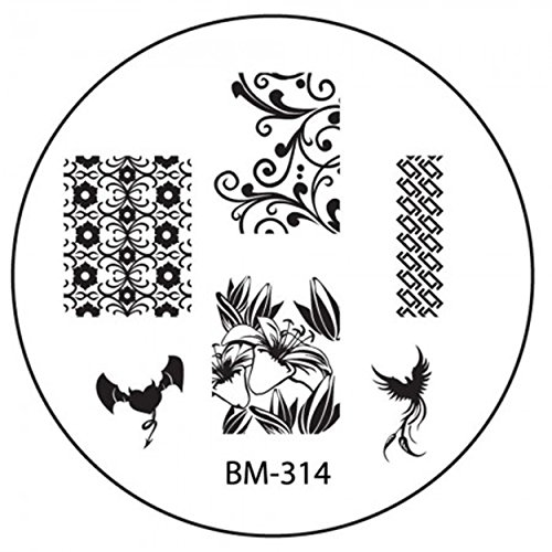 Stamping Pochoir Plate BM 314 Bundle Monster décoratifs Tribal Fleurs Nail Art Design