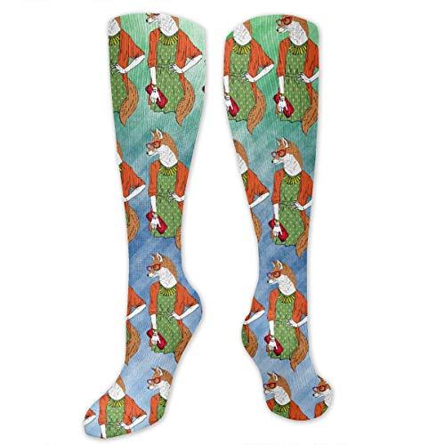 CVDGSAD Knee High Socken Hand Drawn Dressed Up Fox Girl Knee High Stockings Socken Sports Athletic Socken Tube Socken Funny Personalized Gift Socken for Women Teens Girls -