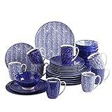 Vancasso, Takaki Porzellan Geschirrservice, 32 teilig Set Rund Kombiservice, mit je 8 Kaffeebecher, Müslischalen, Kuchenteller und Essteller für 8 Personen, Blau