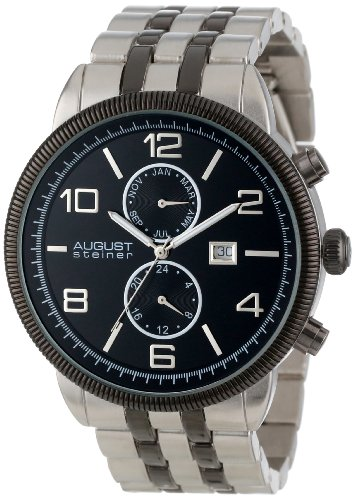 August Steiner Men's AS8069BK Multi-Function Swiss Quartz Bracelet Watch