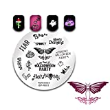 BORN PRETTY Nail Art Stamp Templates Halloween Stamping Image Round Stamp Plate Skull Moth Ghost R001