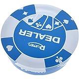 MagiDeal Botón Distribuidor de Acrílico Azul Transparente Piezas de Juego de Casino Tarjeta Póquer
