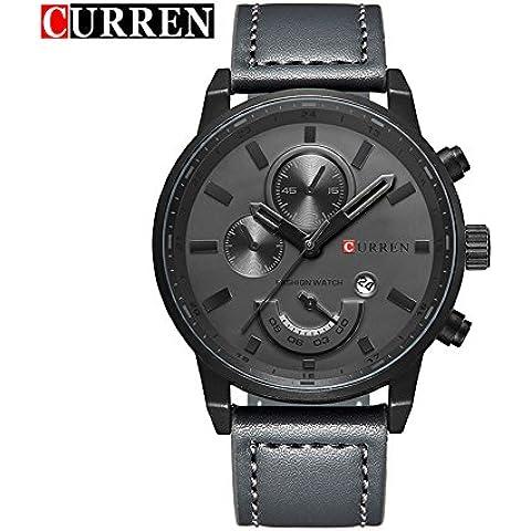 Curren lujo deporte relojes moda casual de la parte superior marca hombres Militar reloj de pulsera gris de