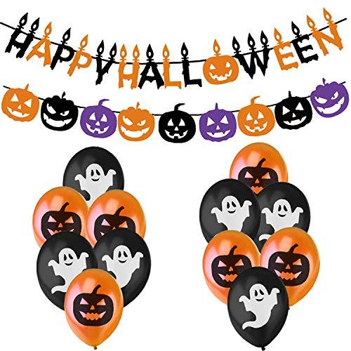 (Jonami Halloween Deko Dekoration Set - Happy Halloween Grusel Girlande, Kürbisse Wimpelgirlande, Orangen Schwarze Ballons mit Geistern und Kurbissen)