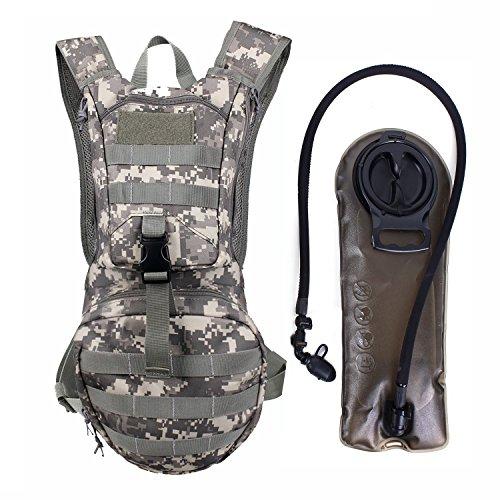 Unigear Hydration Rucksack Trinkrucksack Taktischer Hydrapack-Trinkblase mit Trinkschlauch Backpack mit 2,5 l Wasser-Blasen perfekt für Wandern Radfahren Joggen, Spazieren Klettern und Bergsteigen (Schwarz)