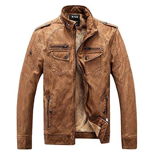 Herren Klassische Herbst Winter Warm Bomber Dicke Retro Vintage Gewaschen Leder Biker Motorrad Jacken Mäntel Lederjacke jacket (Braun, DE L(Tag XL)) (Bomber Leder)
