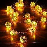 Lichterkette 2 Meter/20 LED Deko Rattan Kugel Ball Warmweiß für Weihnachten Party Deko Schmuck Fensterdeko Schaufenster Girlande Dekoration Batteriebetrieben mit Batteriebox
