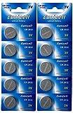 Eunicell 10 x CR2032 3V Lithium Knopfzelle 210 mAh (2 Blister a 5 Batterien) CR-2032, DL2032, ECR2032, L14, 5004LC, EA-2032C EINWEG Markenware
