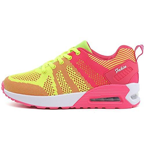 kashiwu, scarpe da ginnastica, unisex, adatte per jogging, palestra e fitness, leggere e con sistema di assorbimento degli urti Plum blossom green