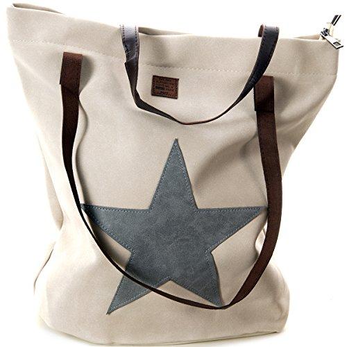 defe41e970048 Schultertasche mit aufgenähtem STERN Shopping Bag Vintage Tasche Shopper  mit Henkel Handtasche TOP TREND Creme mit