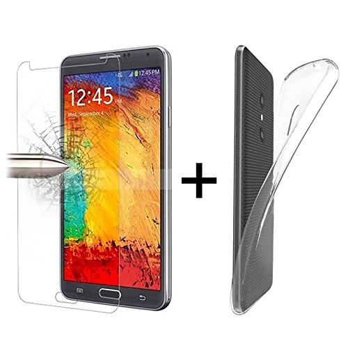 TBOC® Pack: Transparent Gel TPU Hülle + Hartglas Schutzfolie für Alcatel U5 3G - U5 Plus (5.0 Zoll) - Ultradünn Flexibel Silikonhülle. Panzerglas Displayschutz in Kristallklar in Premium Qualität.