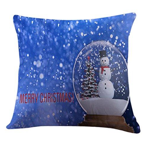 JANLY Joyeux Noël taies d'oreiller housse de coussin canapé linge de maison Decor Core oreiller (Multicolore E)