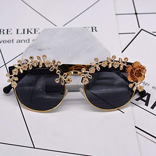 Polarisierte Sonnenbrille mit UV-Schutz Luxus Handgefertigte Metall Blume Polarisierte Barock Sonnenbrille Für Frauen Retro Gold Farbe UV Schutz Driving Sunglasse.s Superleichtes Rahmen-Fischen, das G