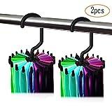 MINGZE 2 piezas Percha para 20 corbatas, Tie Rack Soporte para colgar la correa, ajustable giratorio de 20 ganchos para guardar el organizador del armario (Negro)