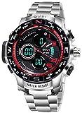 Wrath Luxury Singularity Analog & Digital Red Luxury Metal Chain Wristwatch for Men