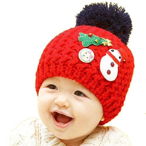 thenice-enfant-kids-bonnet-beanie-hat-chapeau-tricot-bonhomme-de-neige-one-size-rouge