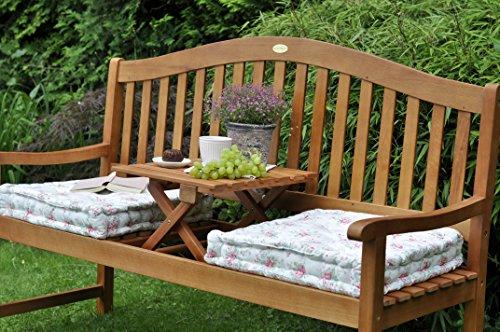 Gartenbank mit Gravur von Ihrem WUNSCHTEXT mit Tisch in der Bank für Gartenliebhaber | Farbe Natur – formschöne personalisierte gravierte Holz-Bank aus Eukalyptus-Holz - 5