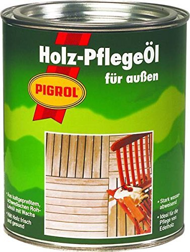 Pigrol Holzpflegeöl 0,75L Speziell für Bangkirai Hartöl Gartenmöbelöl Terrassenöl Holzöl - Tisch Mahagoni-holz Gartenmöbel