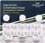 Hoffenbach Kindersicherung Schrank (12+3) magnetische Schranksicherung mit doppelter Klebekraft, Baby Schubladenschloss
