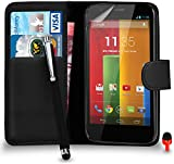 Motorola Moto G Premium Leather Black Wallet Flip Case Cover Pouch + Big Touch Stylus Pen + RED 2 IN 1 Dust Stopper + Screen Protector & Polishing Cloth SVL2 BY SHUKAN®, (WALLET BLACK)