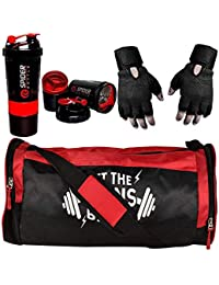 5 O' CLOCK SPORTS Gym Bag With Shoe Compartment For Men Combo Set Enclosed With Soft Polyster Gym Bag With Shoe Compartment For Men For Men and Women For Fitness - Bag Size 49cm x 24cm x 24cm - Red Color, Spider Shaker - Red Color and Gym Gloves With Wrist Support- Black Color ®